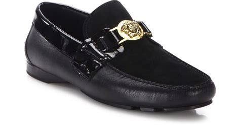 mens versace loafers versace medusa leather loafers in yellow for lyst
