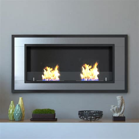 In Wall Ethanol Fireplace by Moda Lugo 47 In Wall Mounted Ethanol Fireplace In