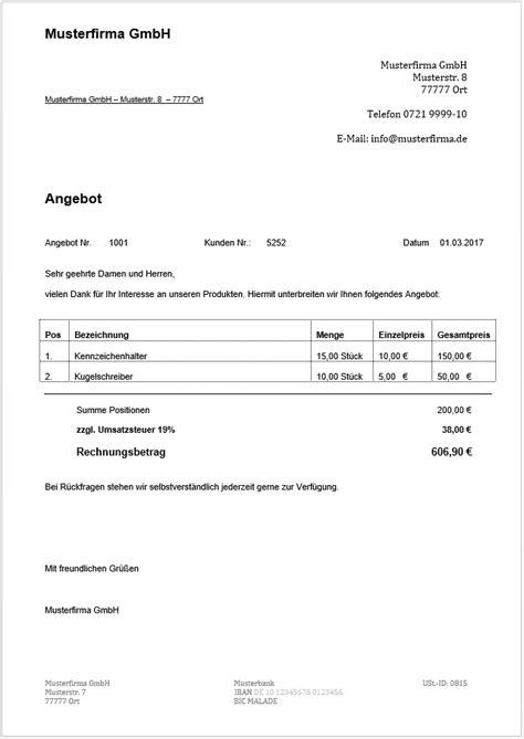 Musterbrief Angebot Annehmen kostenlose angebotsvorlagen mit musterschreiben zum
