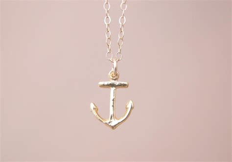 gold anchor necklace for images