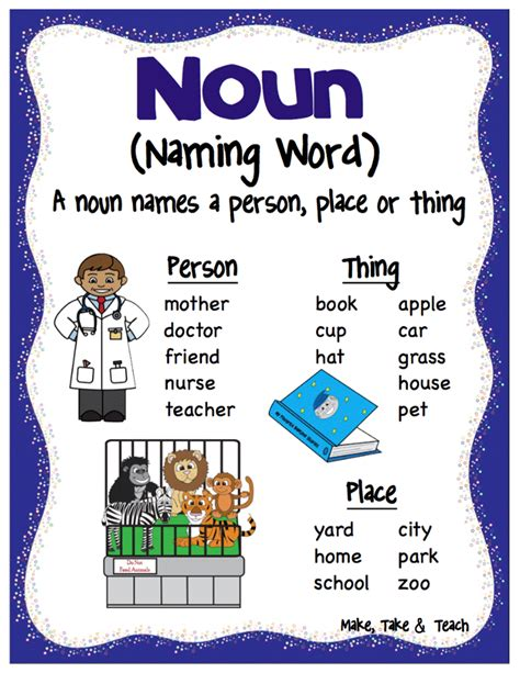 printable noun poster nouns verbs and adjectives make take teach