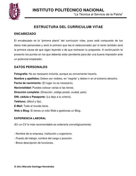 Modelo Y Estructura De Curriculum Vitae Estructura De Un Cv