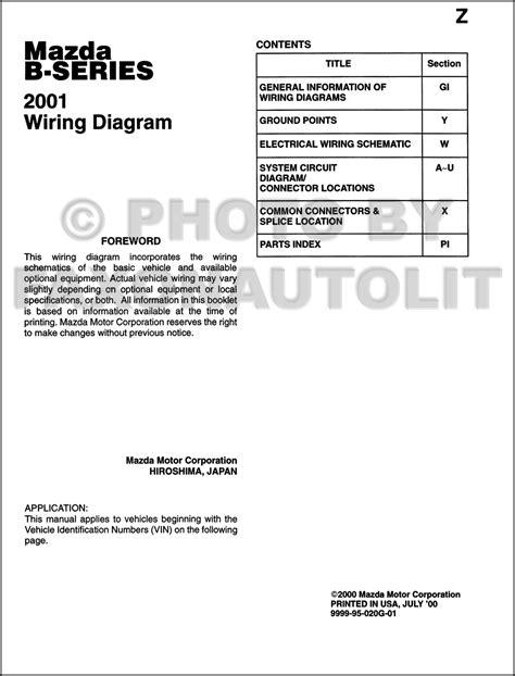 online auto repair manual 2001 mazda b series instrument cluster 2001 mazda b series pickup truck wiring diagram manual original b2500 b3000 b4000