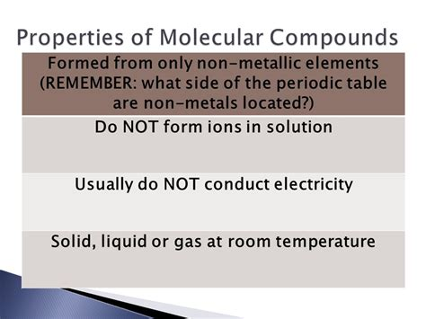 how is formula at room temperature topic 6 molecular compounds ppt
