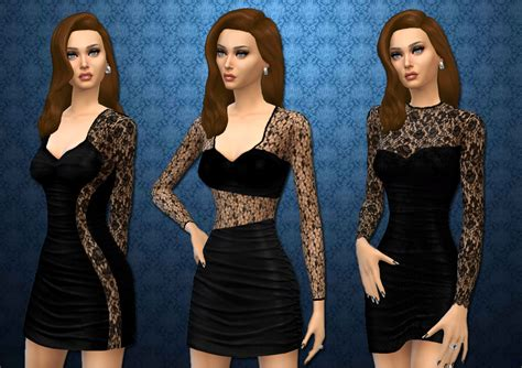 lace shirt the sims 4 mod the sims updated three lace bodycon dresses by