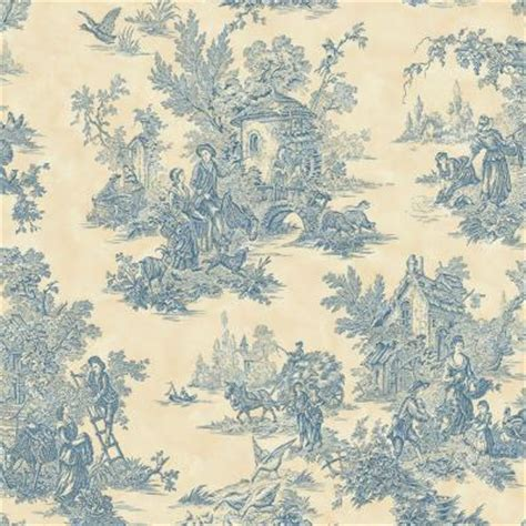 blue wallpaper home depot the wallpaper company 56 sq ft blue and cream large