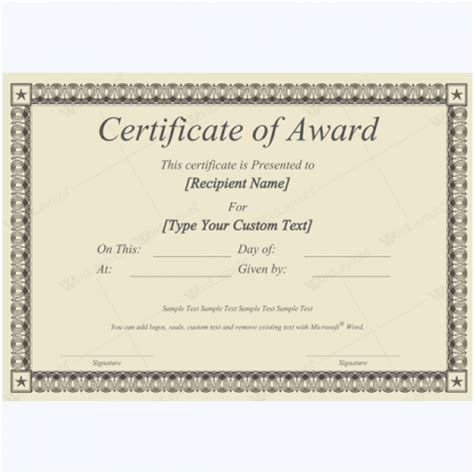 Printable Award Certificates For Microsoft 174 Word Microsoft Award Templates