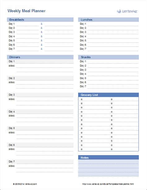 menu planner template excel meal planner template weekly menu planner