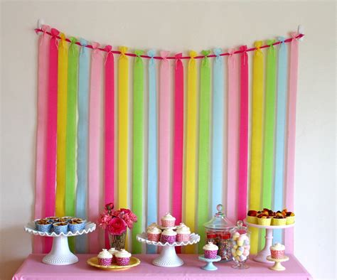 Make Crepe Paper Decorations - pretty backdrop glorious treats