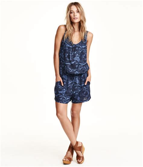 H M Playsuit Blue h m patterned playsuit in blue lyst