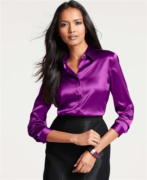 Lavender Silk Button Blouse by Lyst Silk Legacy Button Blouse In Purple