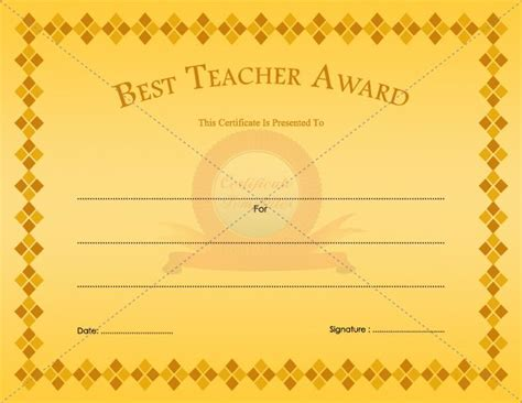 best teacher award certificate template pinterest