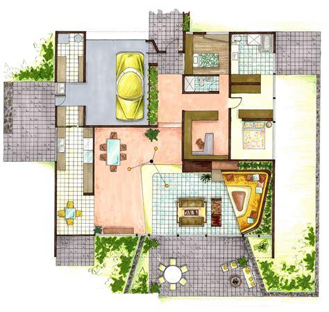 Sketch Up Floor Plan portfolio visual communication case study entenza house