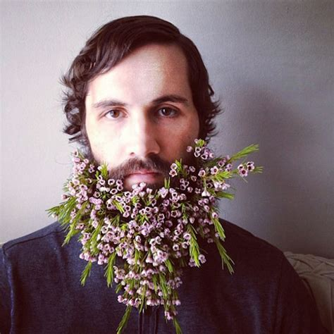 flowers in their men with beards flower beards are the latest hipster trend on the internet