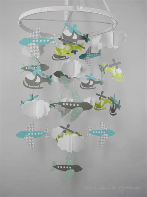 Paper Crib Mobile by Airplane Helicopter And Cloud Baby Paper Nursery Mobile