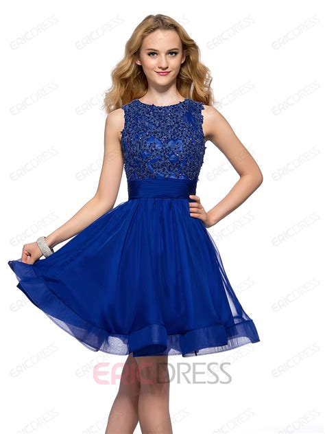 Homecoming Dresses by A Line Bateau Neck Beadings Backless