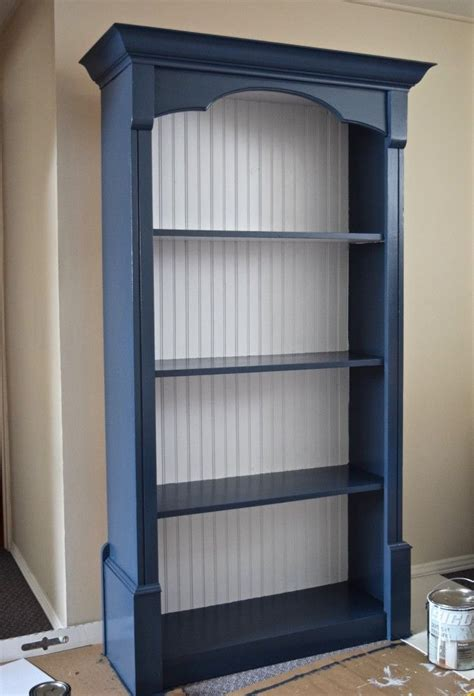 navy blue  white painted bookcase bookcase diy blue