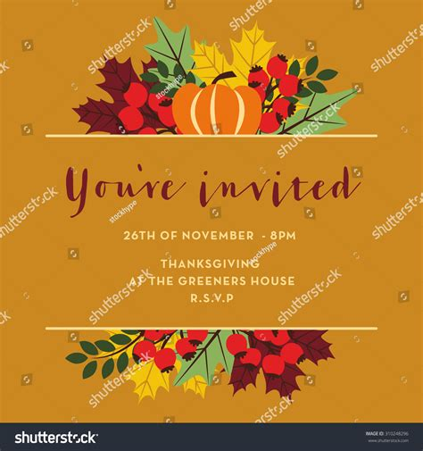 Thanksgiving Invitation Card Template by Thanksgiving Invitation Card Pumpkins Leaves Berries Stock