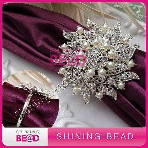 cheap bulk wholesale napkin ring wedding rhinestone pearl