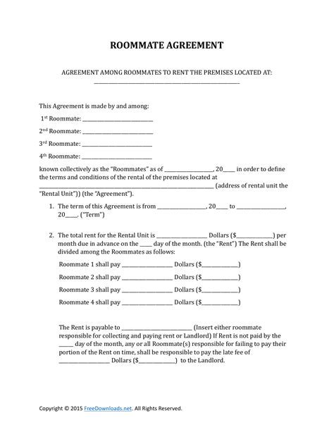 Download Roommate Rental Lease Agreement Form Pdf Rtf Word Freedownloads Net Rental Agreement Template For Roommates