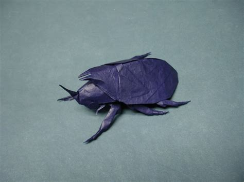 Origami Beetle - origami rhinoceros beetle by origami artist galen on