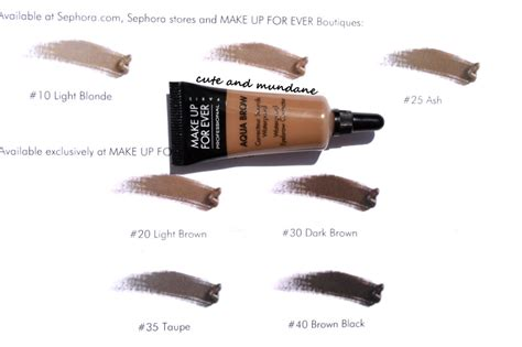 Makeup Forever Eyebrow Gel and mundane make up for aqua brow in 15 review swatches