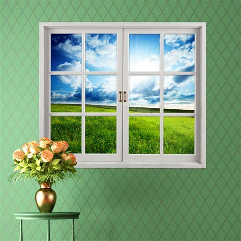 decorative window decals for home grassland 3d artificial window view blue sky 3d wall