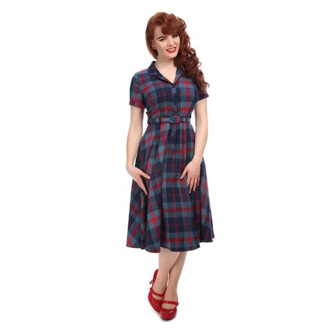 caterina merida check swing dress webshop lipstick - Swing Kleidermarke
