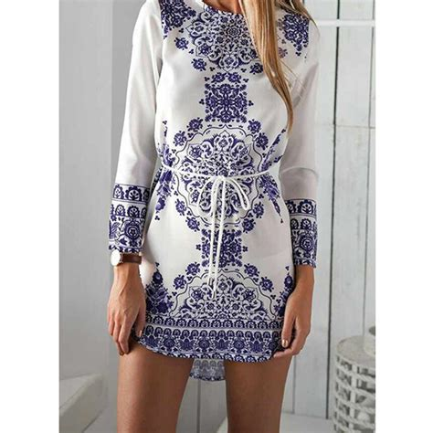black and white clothing pattern blue and white porcelain pattern dress cotton long sleeve