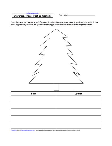 evergreen tree tracing cutting enchantedlearning parts of a tree worksheet for preschoolers parts of a