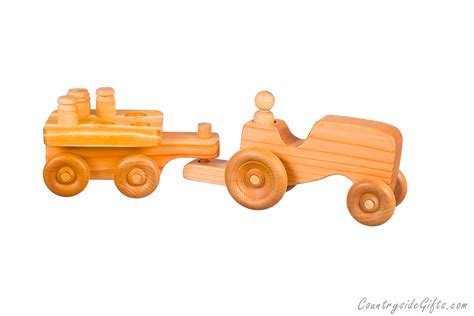 Puzzle Equipment Toys Toys wooden farm tractor w puzzle cart countryside gifts