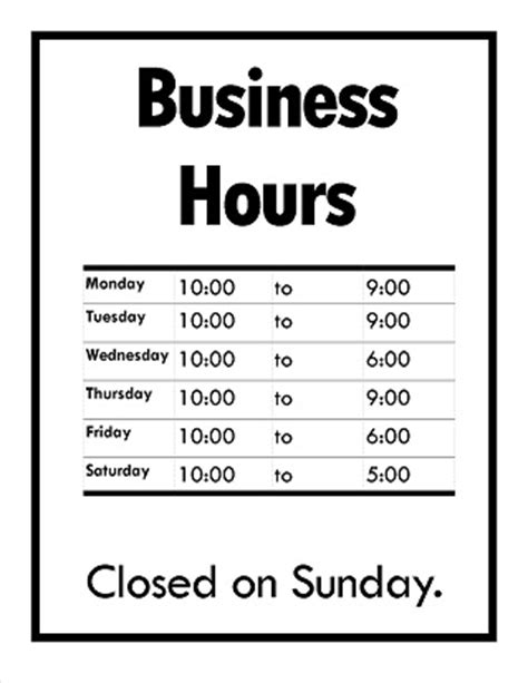 custom hours of operation sign s 3646 png images frompo