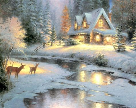 Cottage Paintings By Kinkade by Kinkade Winter Wallpaper 2017 Grasscloth Wallpaper