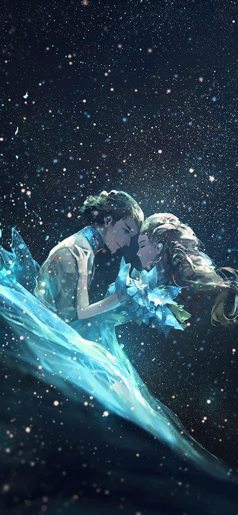 av anime kiss love green girl boy illustration art wallpaper