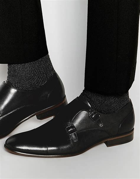 aldo kevon leather monk shoes in black for lyst