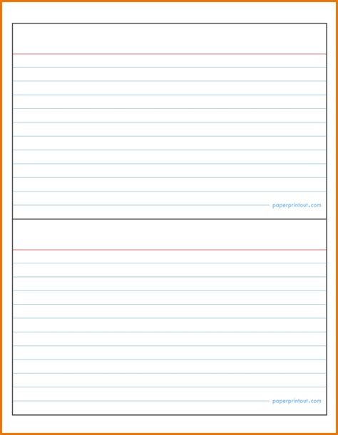 Microsoft Word 3x5 Index Card Template by Template For Note Cards Resume Builder