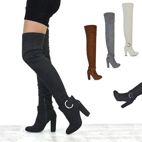 womens the knee high block heel thigh