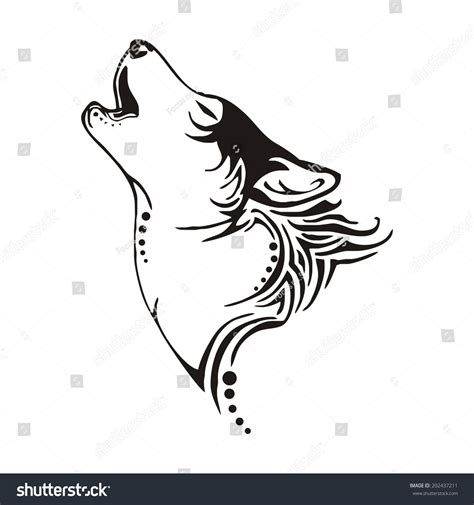 tribal chief tattoo leader wolf bay tribal vector stock vector