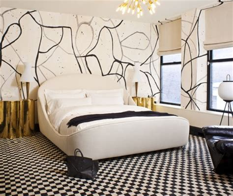 kelly wearstler bedrooms splattered paint walls contemporary bedroom kelly
