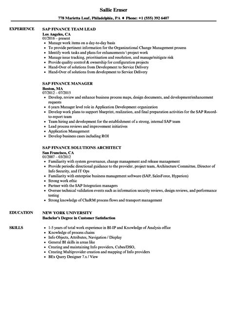 Nyu Mba Work Experience Requirements by Sap Finance Resume Sles Velvet