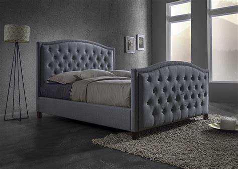 dark gray upholstered headboard button tufted headboard baxton studio whalen grey