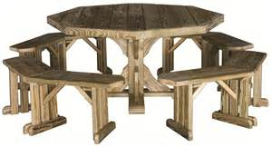 amish pine octagon patio table with benches