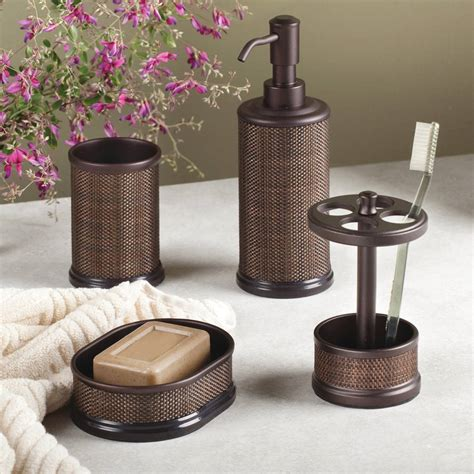 faux rattan bathroom accessories by jodie