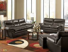 Leather Livingroom Furniture by Casual Contemporary Brown Bonded Leather Sofa Set Living