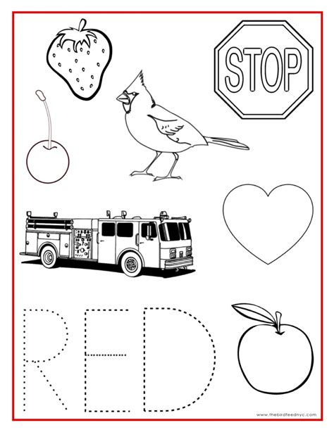 red is the color of the day children s song red colors printable coloring sheets