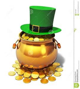 pot of gold and green leprechaun hat royalty free stock