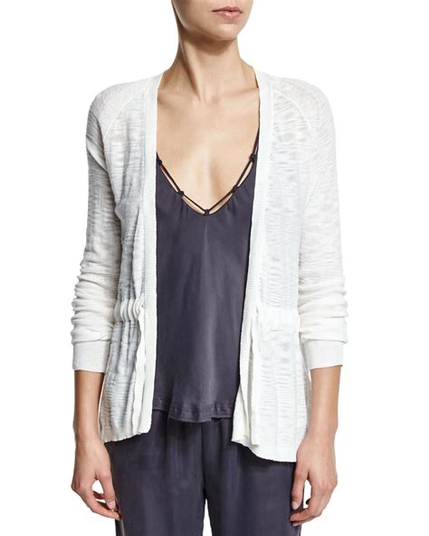 Tie Front Cardigan skin page cotton tie front cardigan in white lyst