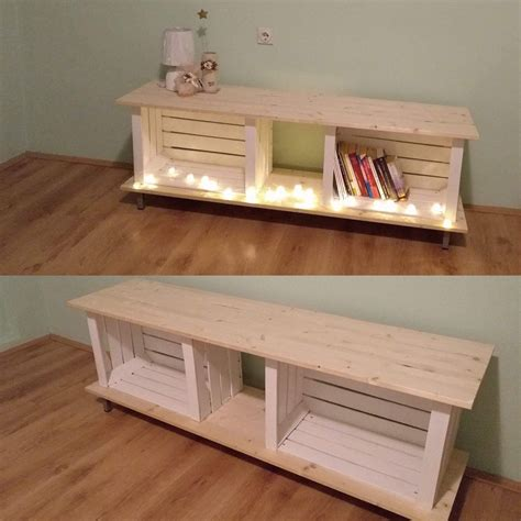 diy furniture projects our first diy project wooden crates pinterest inspired tv