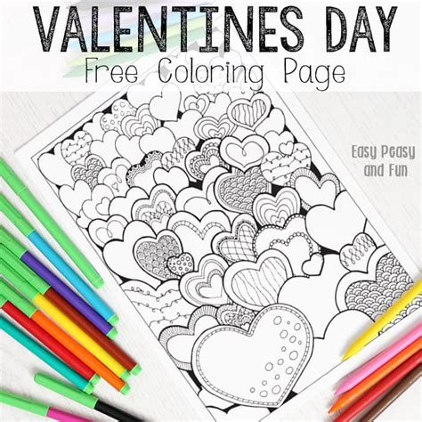 s day for adults hearts valentines day coloring page for adults easy