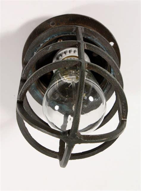 Antique Industrial Cast Bronze Cage Light Fixture For Wall Industrial Cage Light Fixture